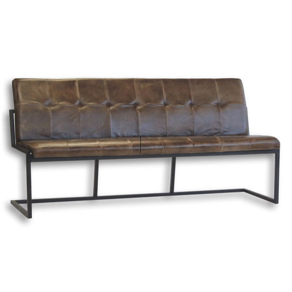 Hunter Leather & Iron Bench - City Home - Portland Oregon - Furniture and Home Decor