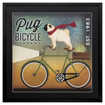"Framed Animal Wall Art ""Pug On A Bike"""