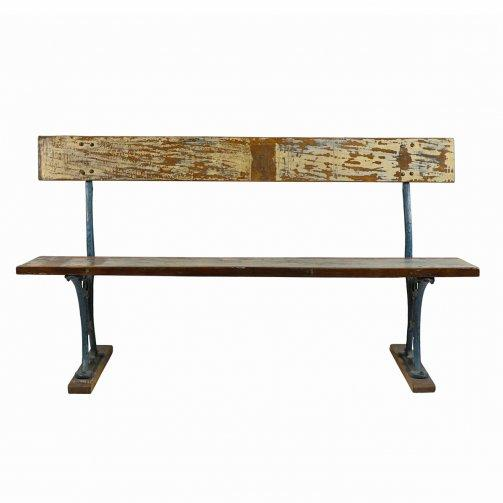 Reclaimed Metal & Wood Train Station Bench - City Home - Portland Oregon - Furniture and Home Decor