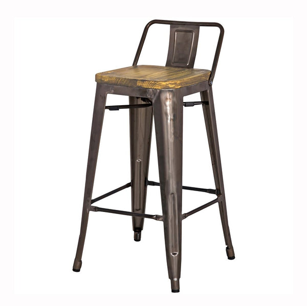 Metropolis Low Back Wood Seat Stool
