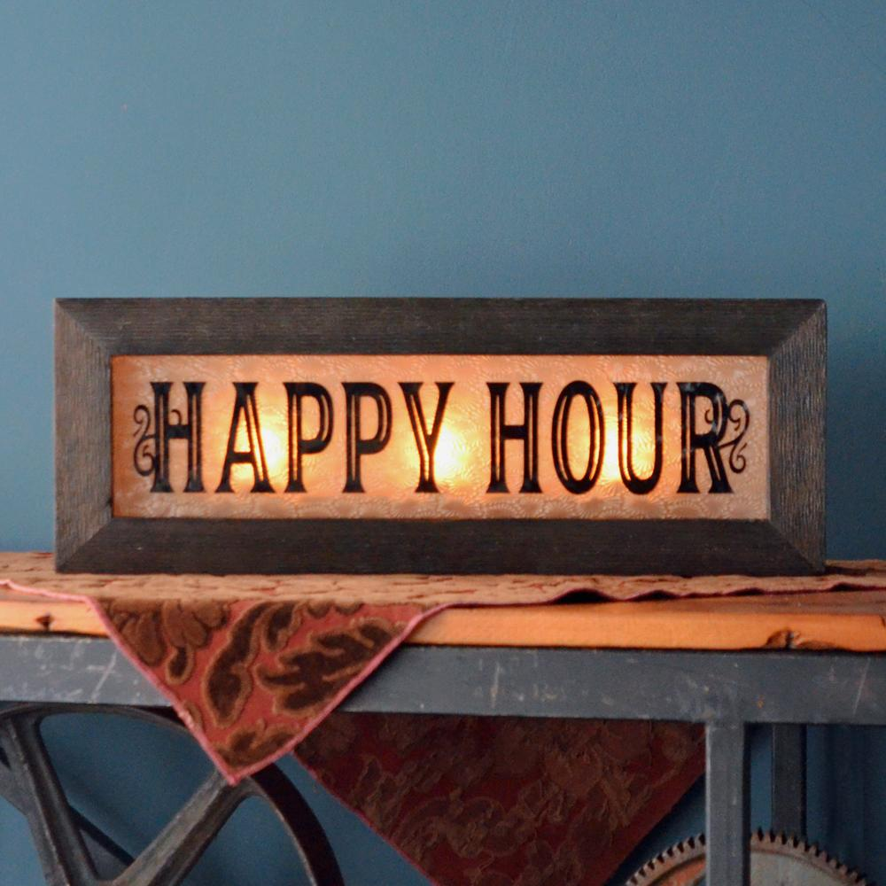 Vintage Light Up Happy Hour Sign - City Home - Portland Oregon - Furniture and Home Decor