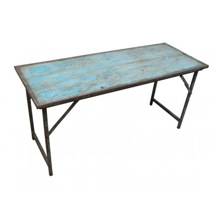 Vintage Blue Folding Table - City Home - Portland Oregon - Furniture and Home Decor