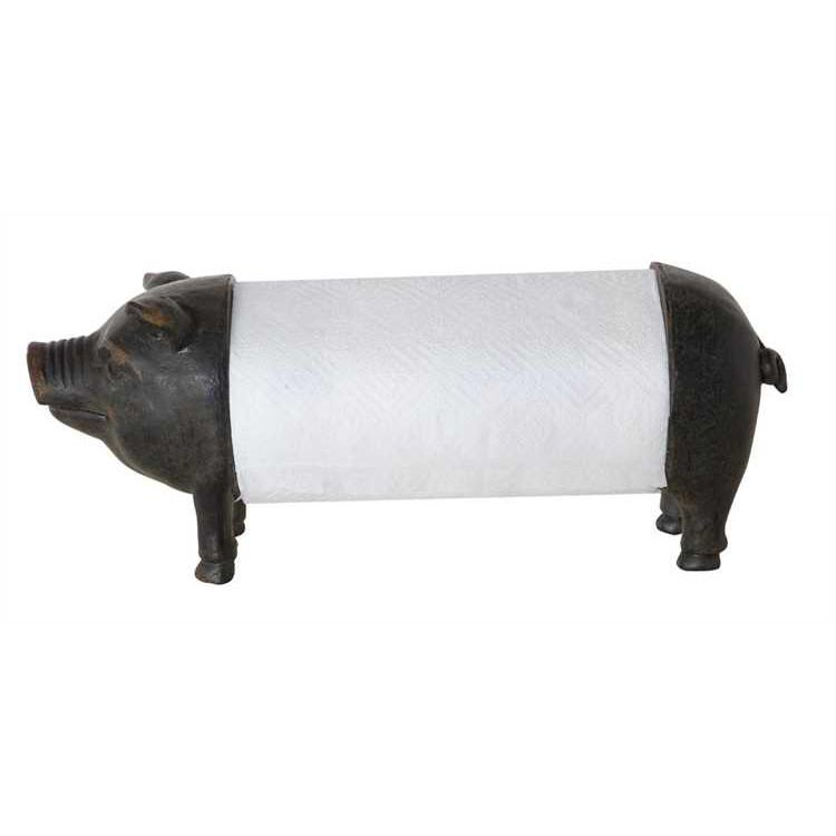 Metal and Resin Pig Paper Towel Holder - City Home - Portland Oregon - Furniture and Home Decor