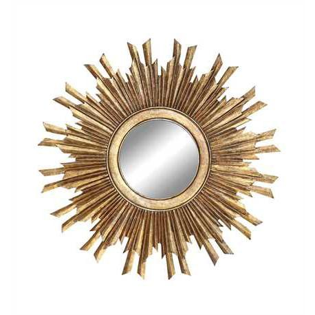 Round Sunburst Mirror Gold Finish - City Home - Portland Oregon - Furniture and Home Decor