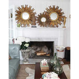 Round Sunburst Mirror Gold Finish