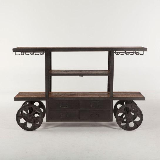 Industrial Teak Wood Bar Cart - City Home - Portland Oregon - Furniture and Home Decor