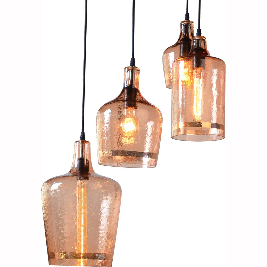 Luminaire Hammered Glass Pendant Light Set - City Home - Portland Oregon - Furniture and Home Decor