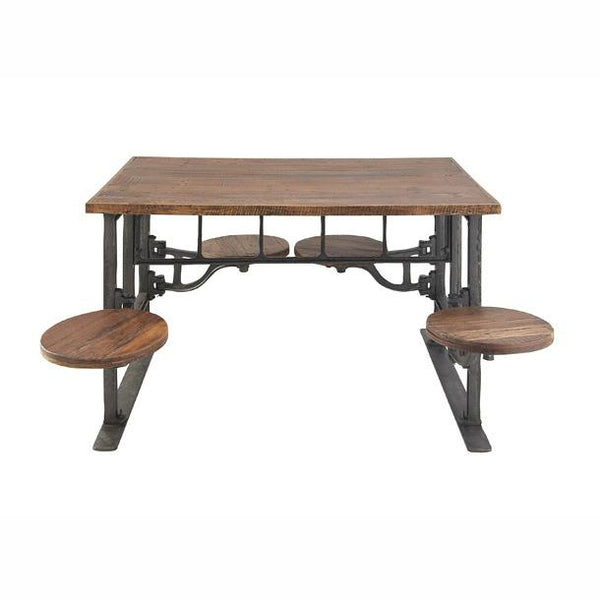 Metal Wood Dining Table W Attached Seats Teak Decor City Home