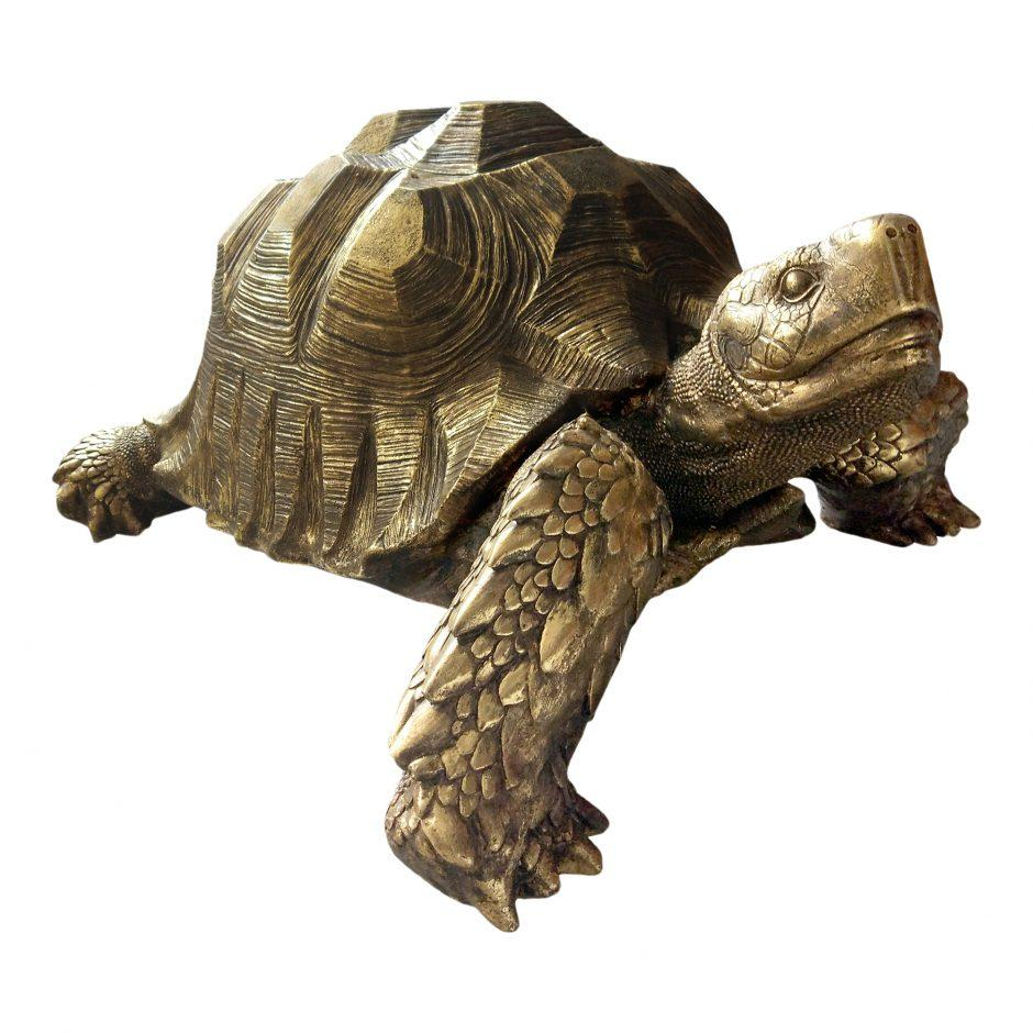 Golden Tortoise Sculpture - City Home - Portland Oregon - Furniture and Home Decor