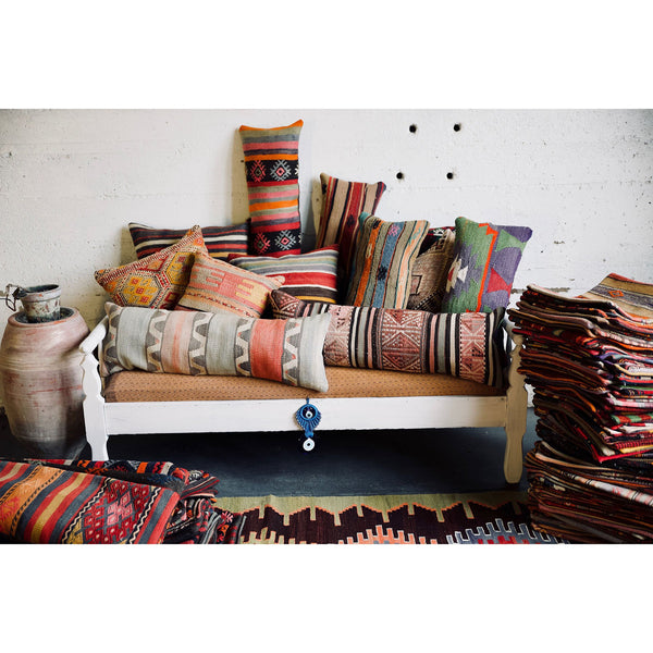 Turkish Kilim Lumbar Pillow - City Home - Portland Oregon - Furniture and Home Decor