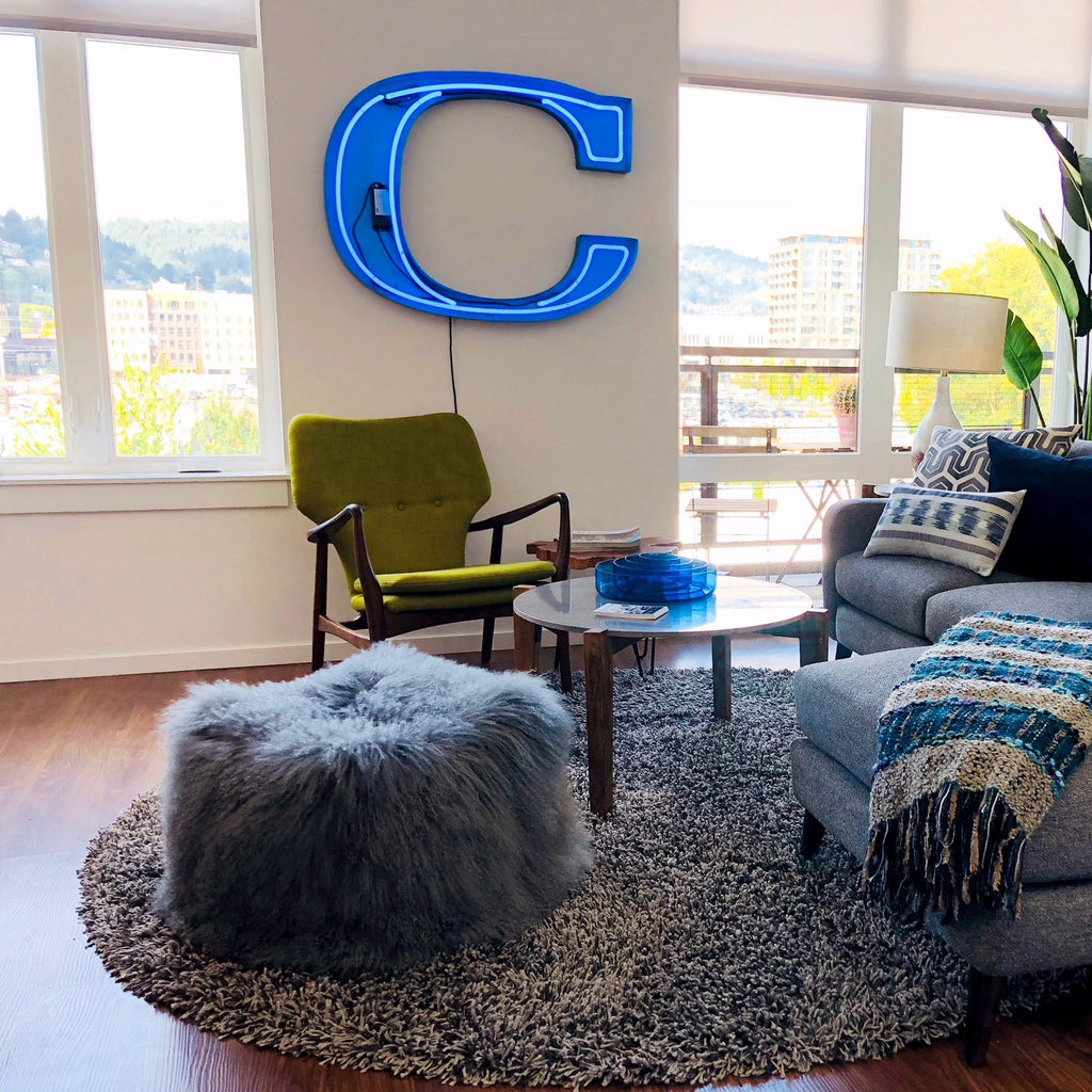 Large Blue Neon Sign — Letter C - City Home - Portland Oregon - Furniture and Home Decor