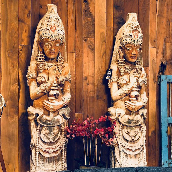 Vintage Southeast Asian Art Statue Pair