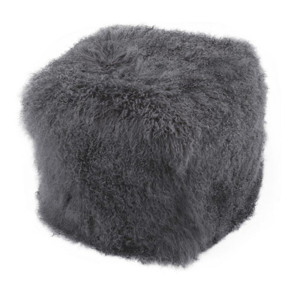 Grey Lamb Fur Pouf Stool - City Home - Portland Oregon - Furniture and Home Decor