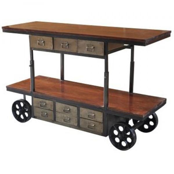 Reclaimed Wood & Iron Bar Cart