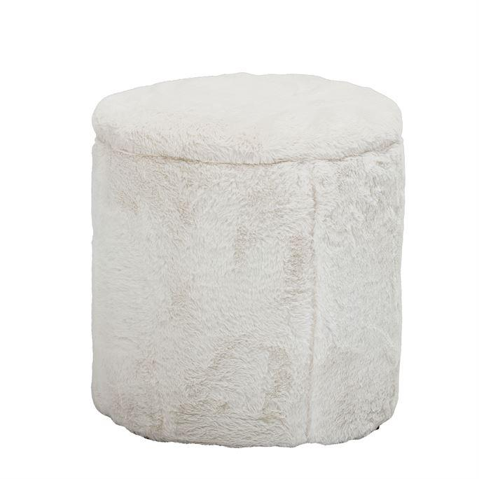 Faux Fur Upholstered Storage Pouf - City Home - Portland Oregon - Furniture and Home Decor