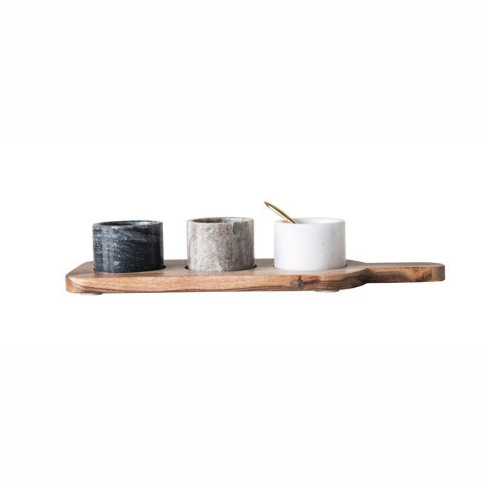 Acacia Wood Board and Marble Pot Set - City Home - Portland Oregon - Furniture and Home Decor