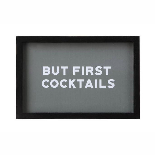 """But First Cocktails"" Wood Framed Glass Wall Decor - City Home - Portland Oregon - Furniture and Home Decor"