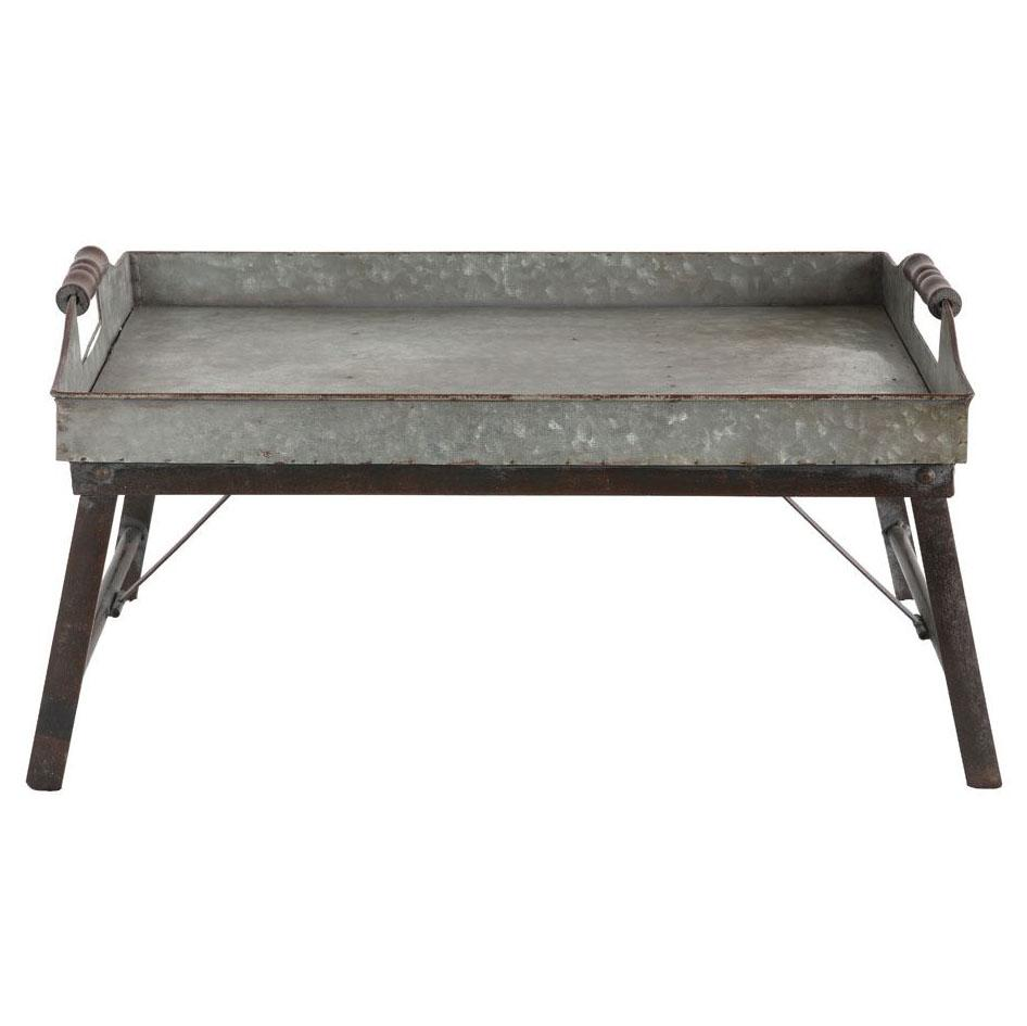 Galvanized Metal Serving Tray Table - City Home - Portland Oregon - Furniture and Home Decor