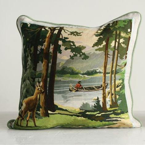Nature Scene Cotton Pillow - City Home - Portland Oregon - Furniture and Home Decor