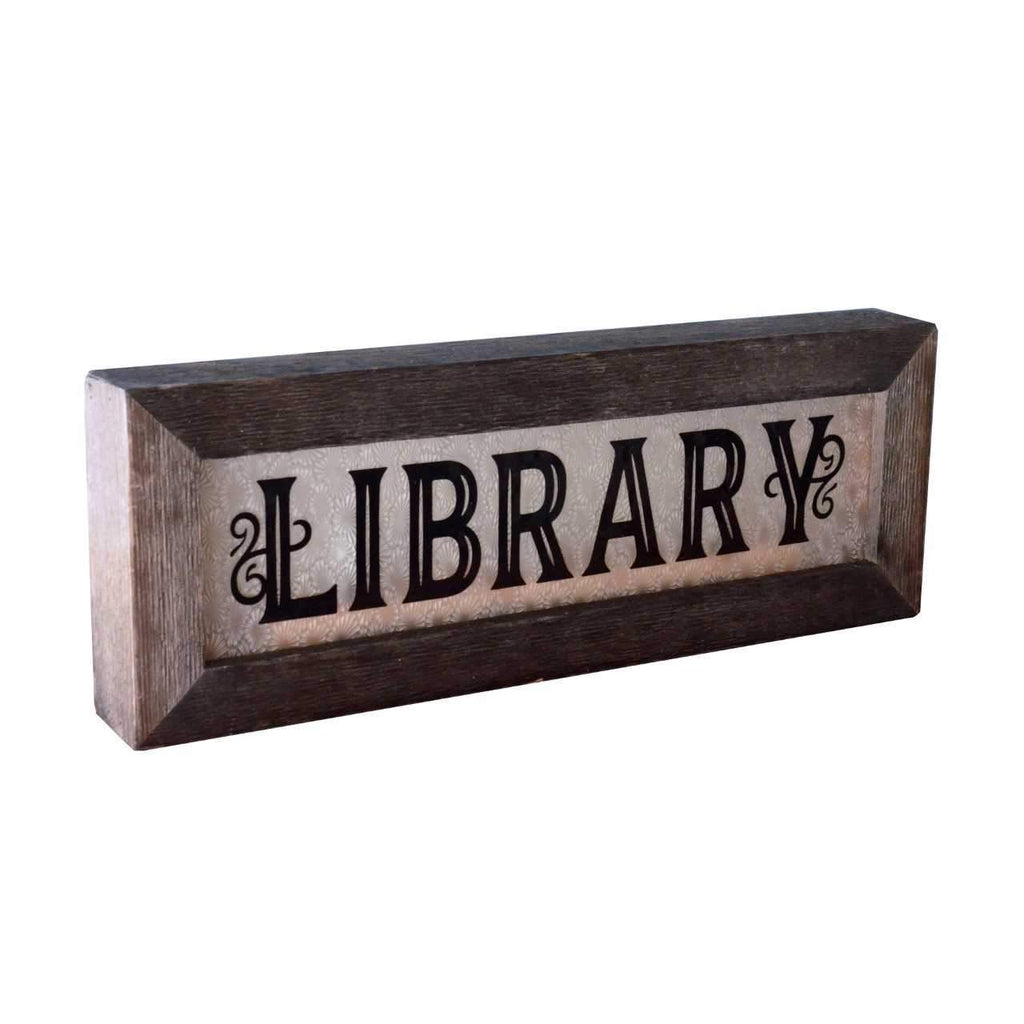 Vintage Light Up Library Sign - City Home - Portland Oregon - Furniture and Home Decor