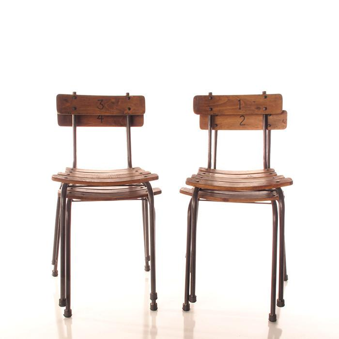 School Chairs Set/4 - City Home - Portland Oregon - Furniture and Home Decor