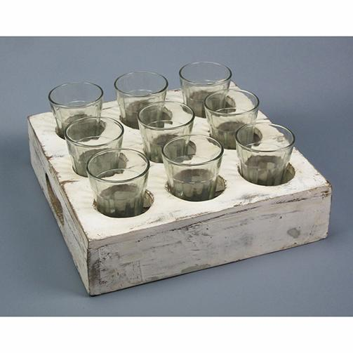 Reclaimed Wood Drink Serving Tray with Glasses - City Home - Portland Oregon - Furniture and Home Decor