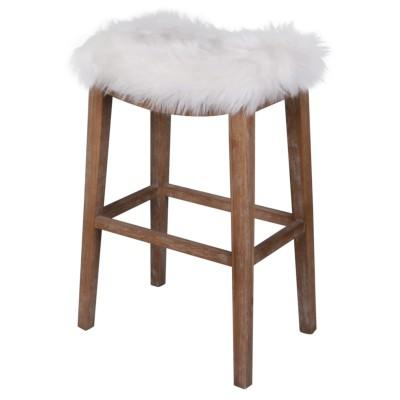 Elmo Faux Fur Stool - City Home - Portland Oregon - Furniture and Home Decor