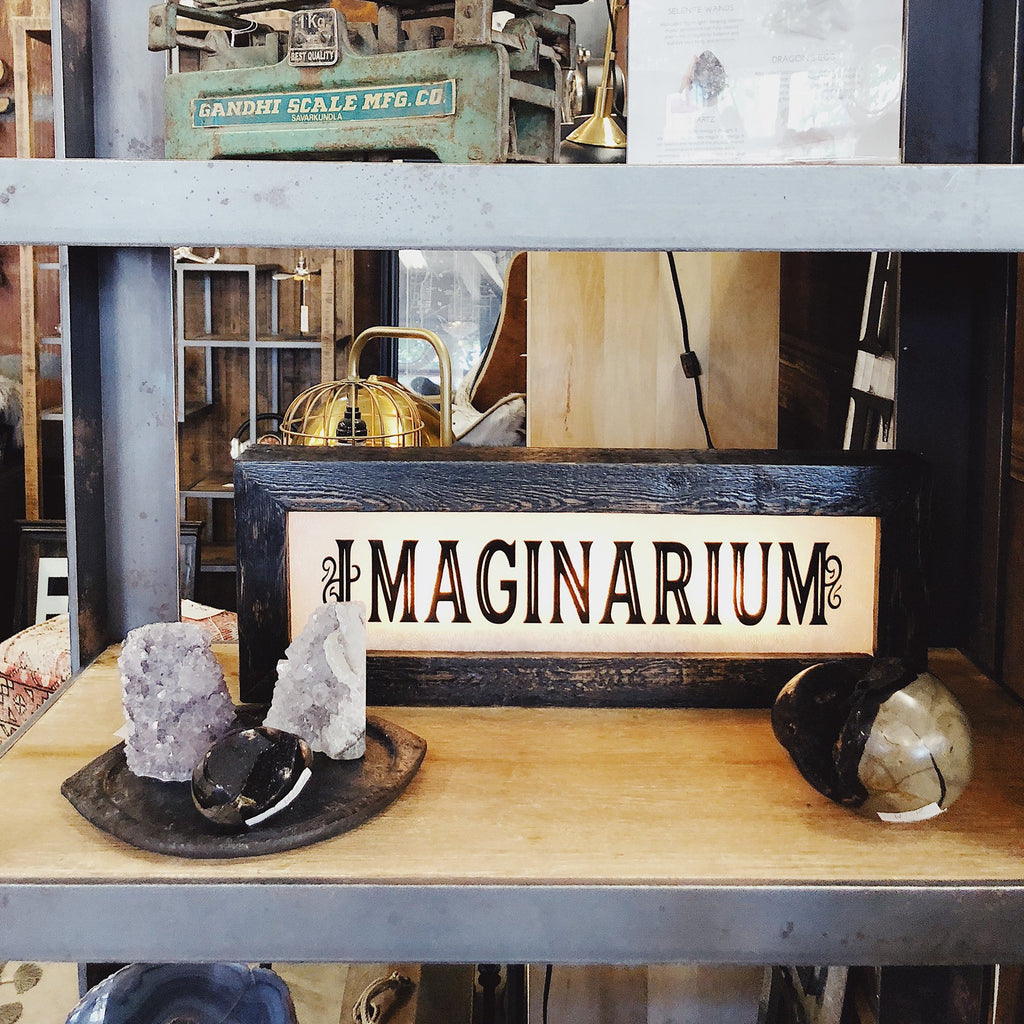 Vintage Light Up Imaginarium Sign - City Home - Portland Oregon - Furniture and Home Decor