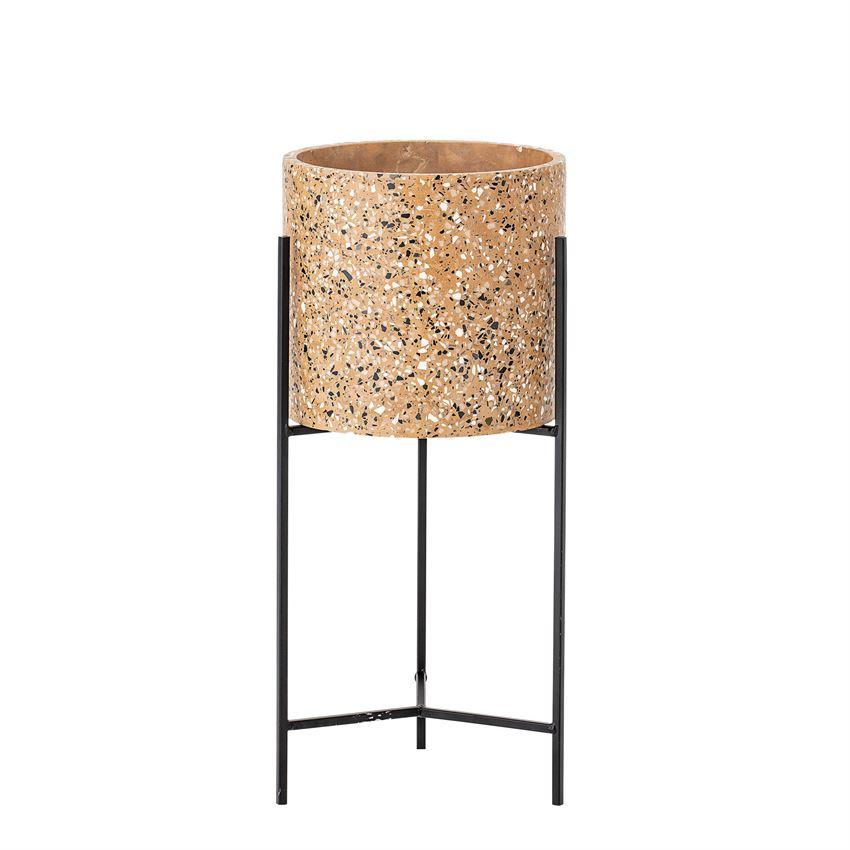 Terrazzo Planter with Metal Stand in Mustard