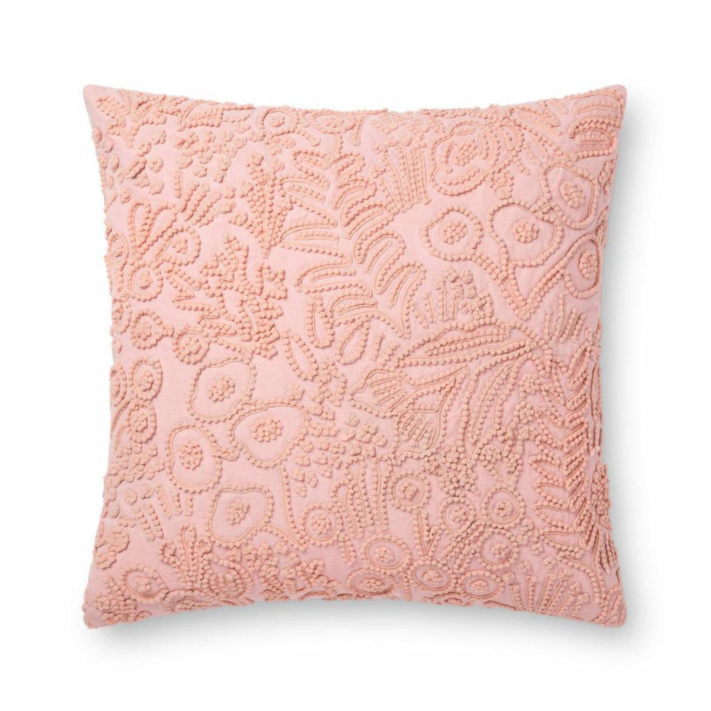 Pink Embroidered Tapestry Pillow - City Home - Portland Oregon - Furniture and Home Decor