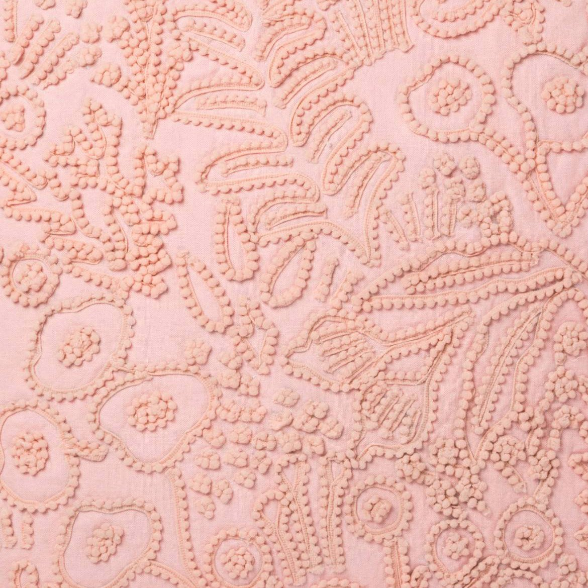 Pink Embroidered Tapestry Pillow