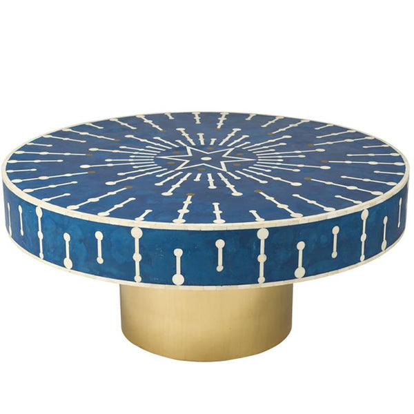 Santorini Coffee Table — Blue and Brass