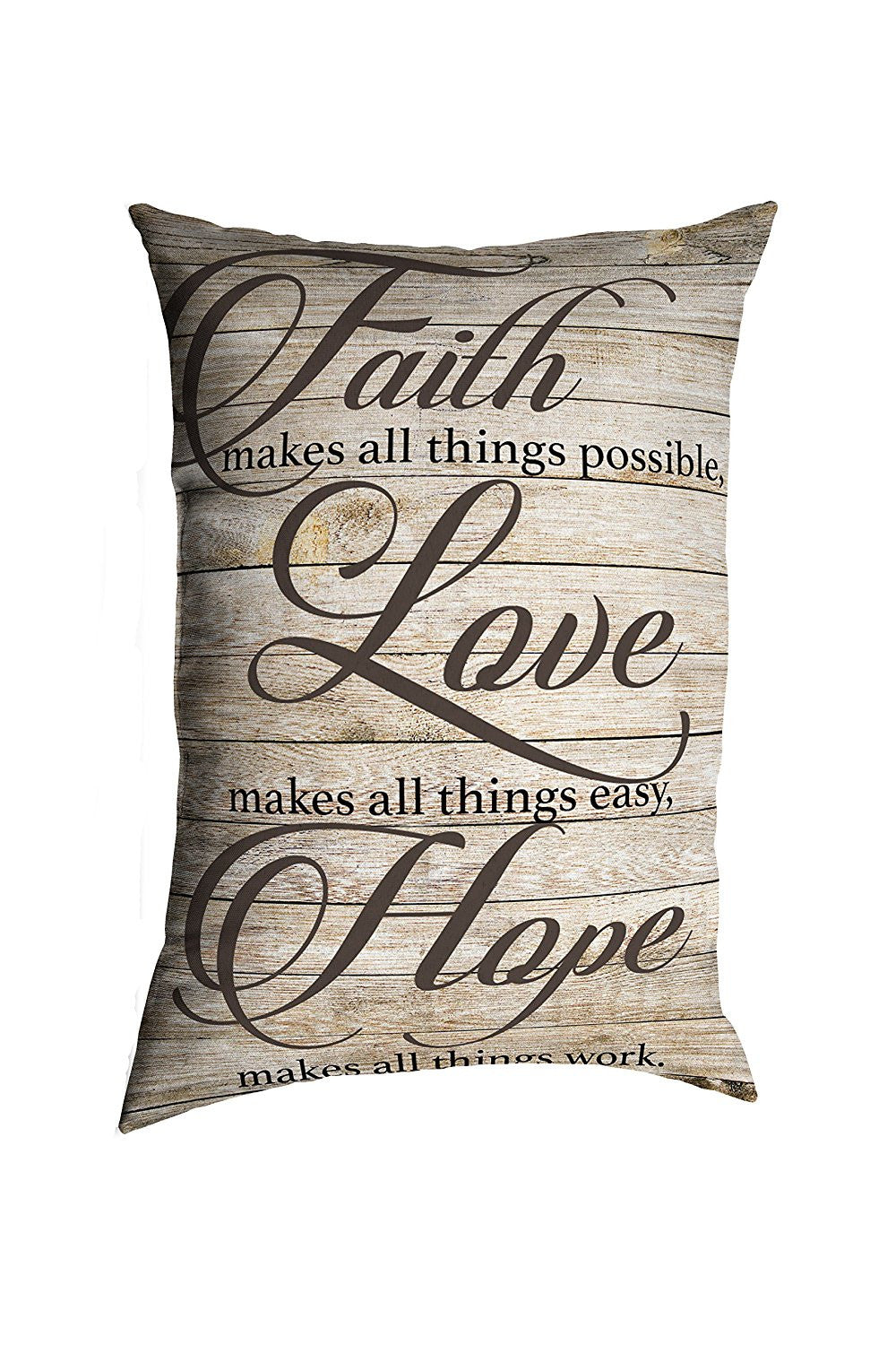 """Faith Love Hope Quotes Stratford Home 14""""x20"""" Decorative Religious Quotes & Sayings Lumbar Pi"""