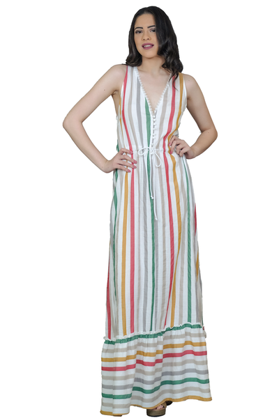 LONG DRESS WITH FRILL AT THE HEM AND ADJUSTABLE WAIST