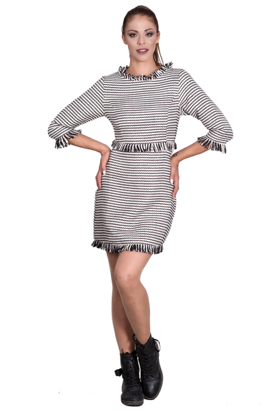 SHORT TWEED DRESS WITH 3/4 LENGTH SLEEVES