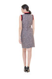 TWEED DRESS WITH ATHLETIC TRIM ON THE COLLAR AND SHOULDERS
