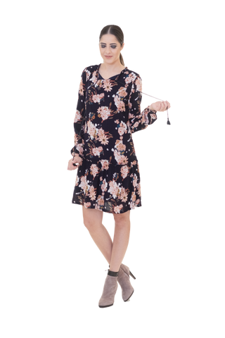 BOHO STYLE FLORAL DRESS WITH FRILL AT THE HEM AND TASSEL TIES