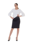 JAQUARED-WEAVE PENCIL SKIRT WITH PU LEATHER DETAILING ON THE WAIST
