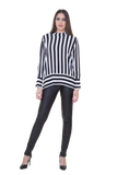 STRIPED MOCK-NECK BLOUSE