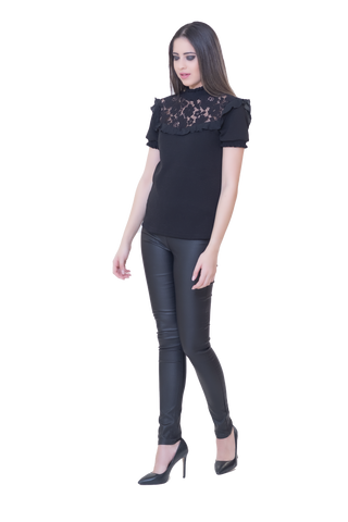 SHORT SLEEVED BLOUSE WITH LACE DETAIL AND ELASTICATED NECK AND SLEEVES