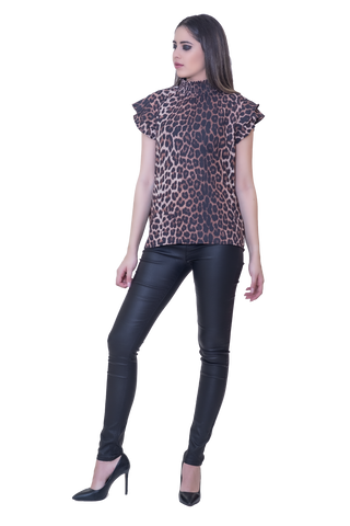 MOCK NECK BLOUSE WITH ANIMAL PRINT PATTERN
