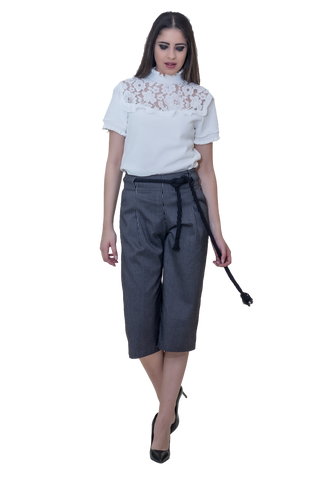 STRIPED JUPE CULOTTE WITH FRONT PLEATS AND BELT