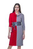 DRESS WITH COLOUR BLOCKS AND PU LEATHER BELT