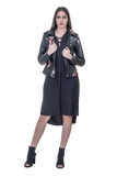 PU LEATHER BIKER JACKET WITH FLORAL DETAILING