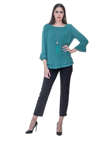 COCKTAIL BLOUSE WITH LAYERS AT THE HEM AND THE SLEEVES