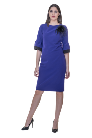 MIDI COCKTAIL DRESS WITH BELL SLEEVES AND FEATHER DETAILING
