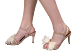 HEELED SANDALS WITH FEATHERS