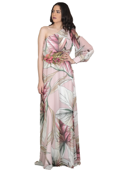 LONG EVENING DRESS WITH ONE SLEEVE AND ELASTICATED BELT