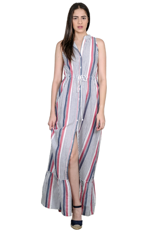 LONG STRIPED DRESS WITH ADJUSTABLE WAIST AND FRILL AT THE HEM