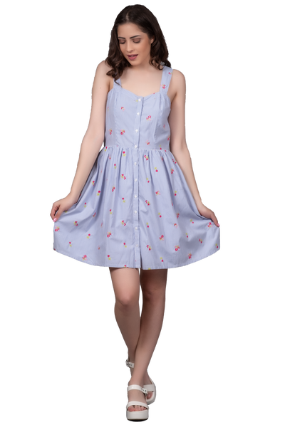 CASUAL DRESS WITH EMBROIDERED FLOWERS ON STRIPES